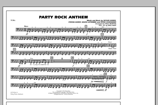Paul Murtha Party Rock Anthem - Tuba sheet music notes and chords. Download Printable PDF.