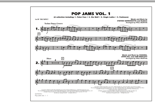 Paul Murtha Pop Jams: Vol. 1 - 1st Bb Trumpet sheet music notes and chords. Download Printable PDF.