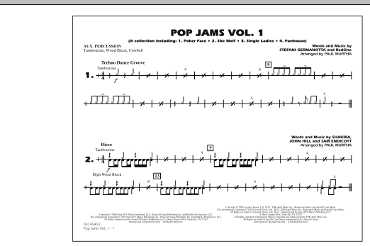 Paul Murtha Pop Jams: Vol. 1 - Aux Percussion sheet music notes and chords