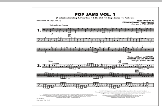 Paul Murtha Pop Jams: Vol. 1 - Baritone B.C. (Opt. Tbn. 2) sheet music notes and chords