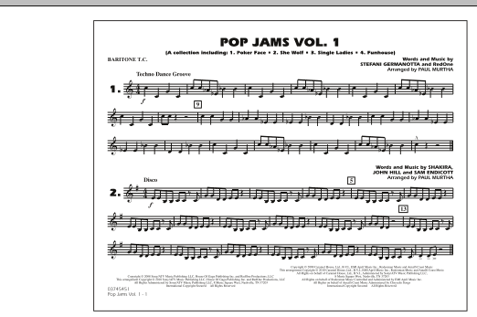 Paul Murtha Pop Jams: Vol. 1 - Baritone T.C. sheet music notes and chords
