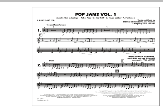 Paul Murtha Pop Jams: Vol. 1 - Bb Horn/3rd Bb Tpt sheet music notes and chords
