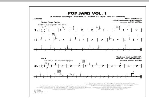 Paul Murtha Pop Jams: Vol. 1 - Cymbals sheet music notes and chords