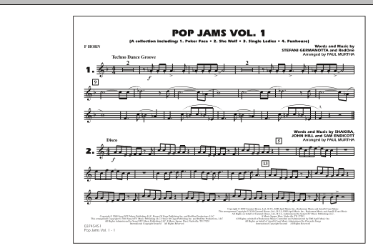 Paul Murtha Pop Jams: Vol. 1 - F Horn sheet music notes and chords. Download Printable PDF.