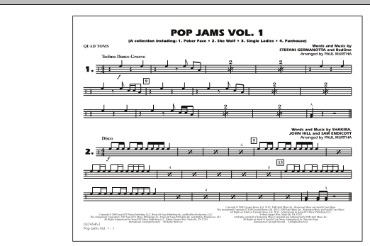 Paul Murtha Pop Jams: Vol. 1 - Quad Toms sheet music notes and chords