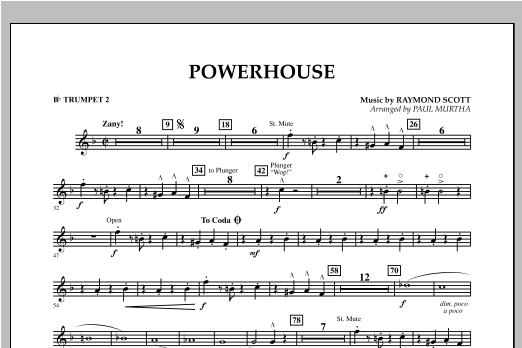 Paul Murtha Powerhouse - Bb Trumpet 2 sheet music notes and chords. Download Printable PDF.