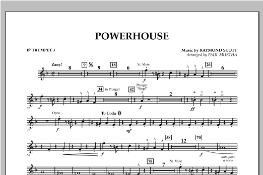 Paul Murtha Powerhouse - Bb Trumpet 3 sheet music notes and chords. Download Printable PDF.