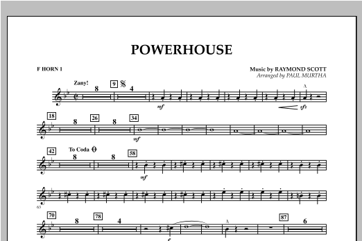Paul Murtha Powerhouse - F Horn 1 sheet music notes and chords. Download Printable PDF.
