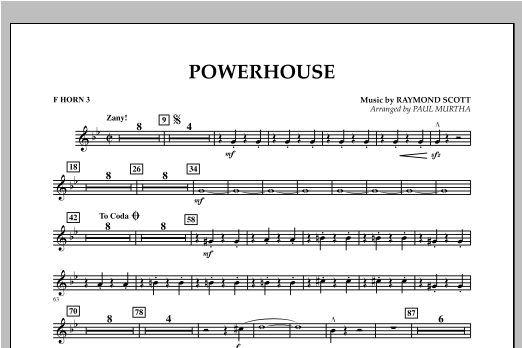 Paul Murtha Powerhouse - F Horn 3 sheet music notes and chords. Download Printable PDF.