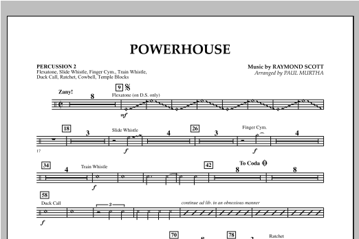 Paul Murtha Powerhouse - Percussion 2 sheet music notes and chords. Download Printable PDF.