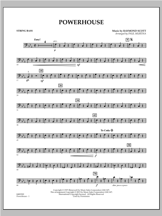 Paul Murtha Powerhouse - String Bass sheet music notes and chords. Download Printable PDF.