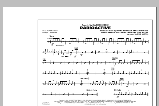 Paul Murtha Radioactive - Aux Percussion sheet music notes and chords. Download Printable PDF.