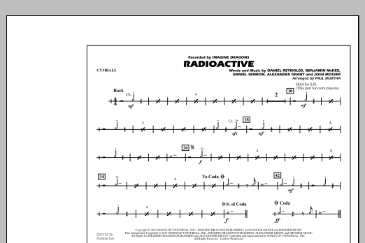 Paul Murtha Radioactive - Cymbals sheet music notes and chords. Download Printable PDF.