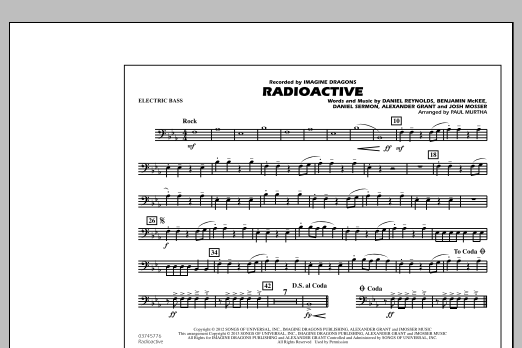 Paul Murtha Radioactive - Electric Bass sheet music notes and chords. Download Printable PDF.