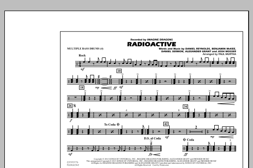Paul Murtha Radioactive - Multiple Bass Drums sheet music notes and chords. Download Printable PDF.