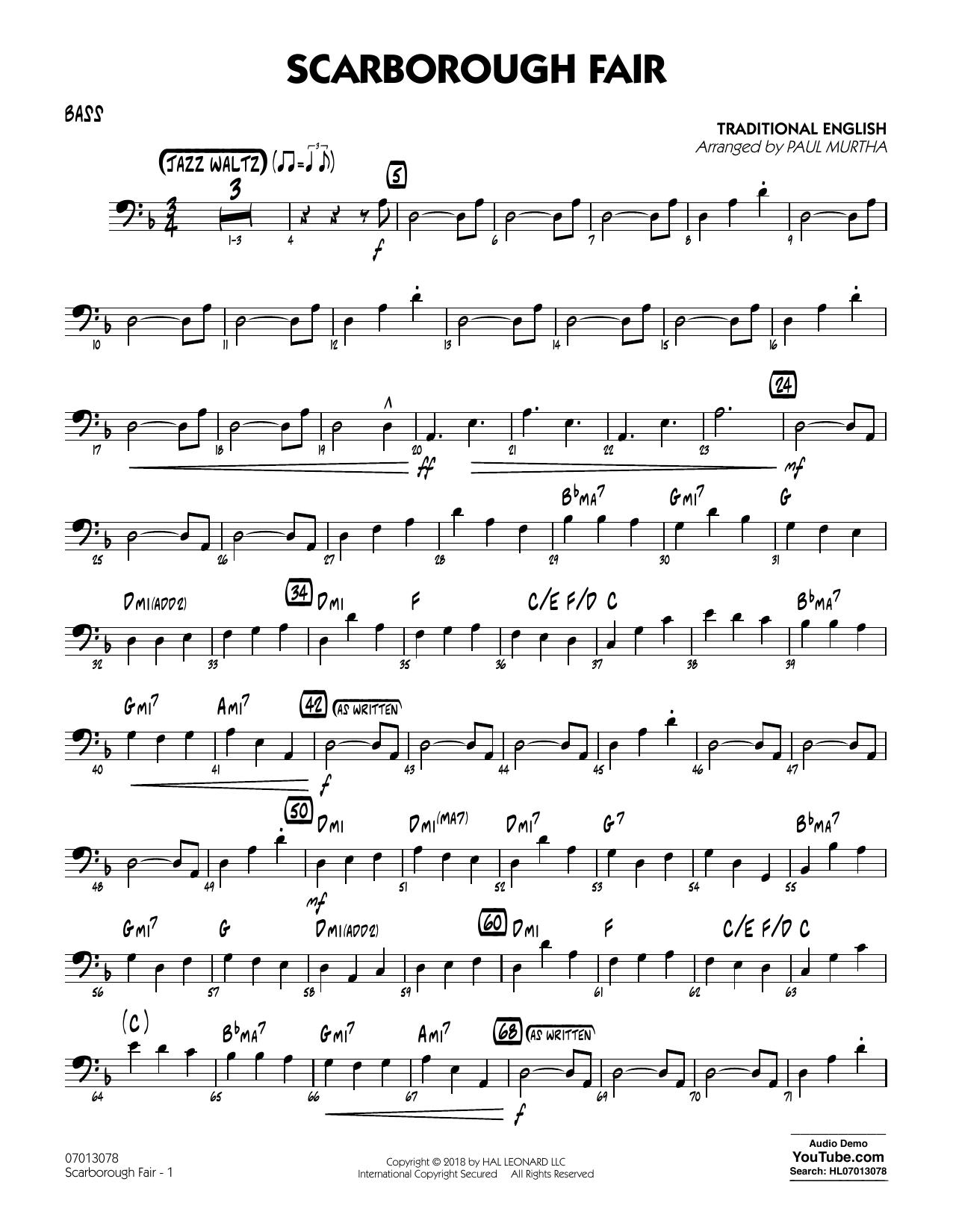 Paul Murtha Scarborough Fair - Bass sheet music notes and chords. Download Printable PDF.