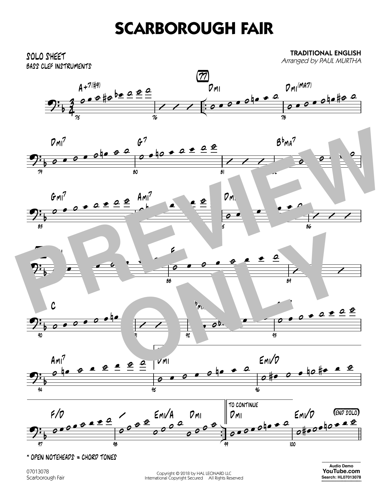 Paul Murtha Scarborough Fair - Bass Clef Solo Sheet sheet music notes and chords. Download Printable PDF.