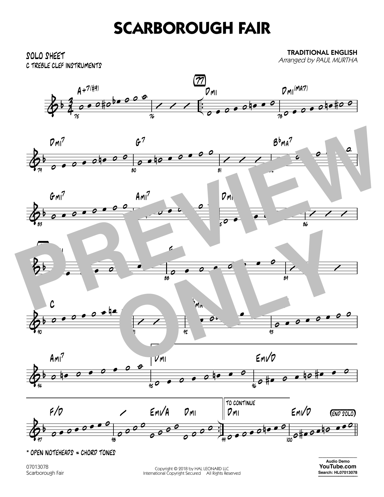 Paul Murtha Scarborough Fair - C Solo Sheet sheet music notes and chords. Download Printable PDF.