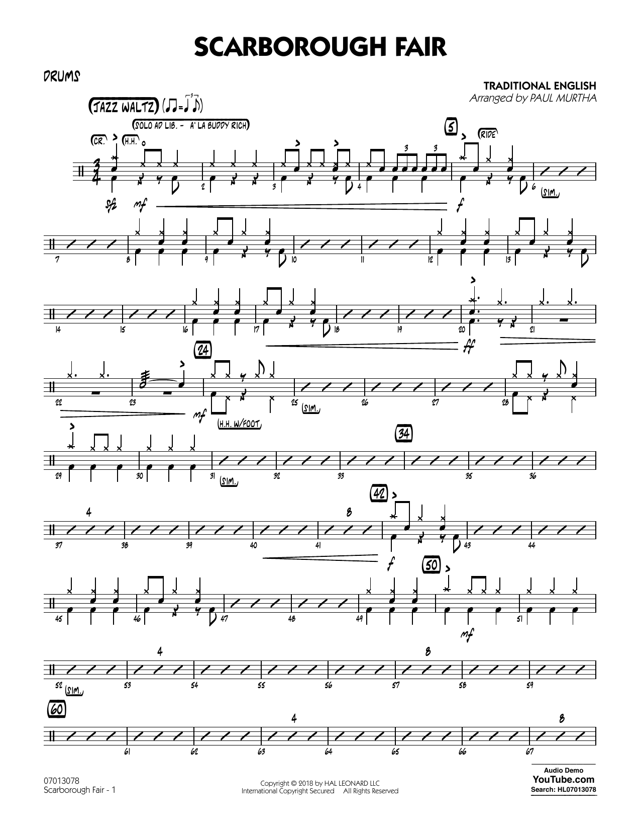 Paul Murtha Scarborough Fair - Drums sheet music notes and chords. Download Printable PDF.