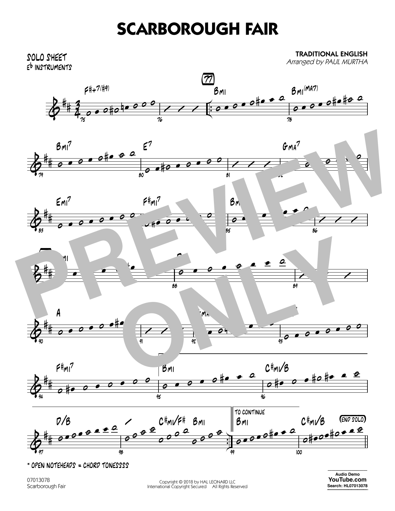 Paul Murtha Scarborough Fair - Eb Solo Sheet sheet music notes and chords. Download Printable PDF.