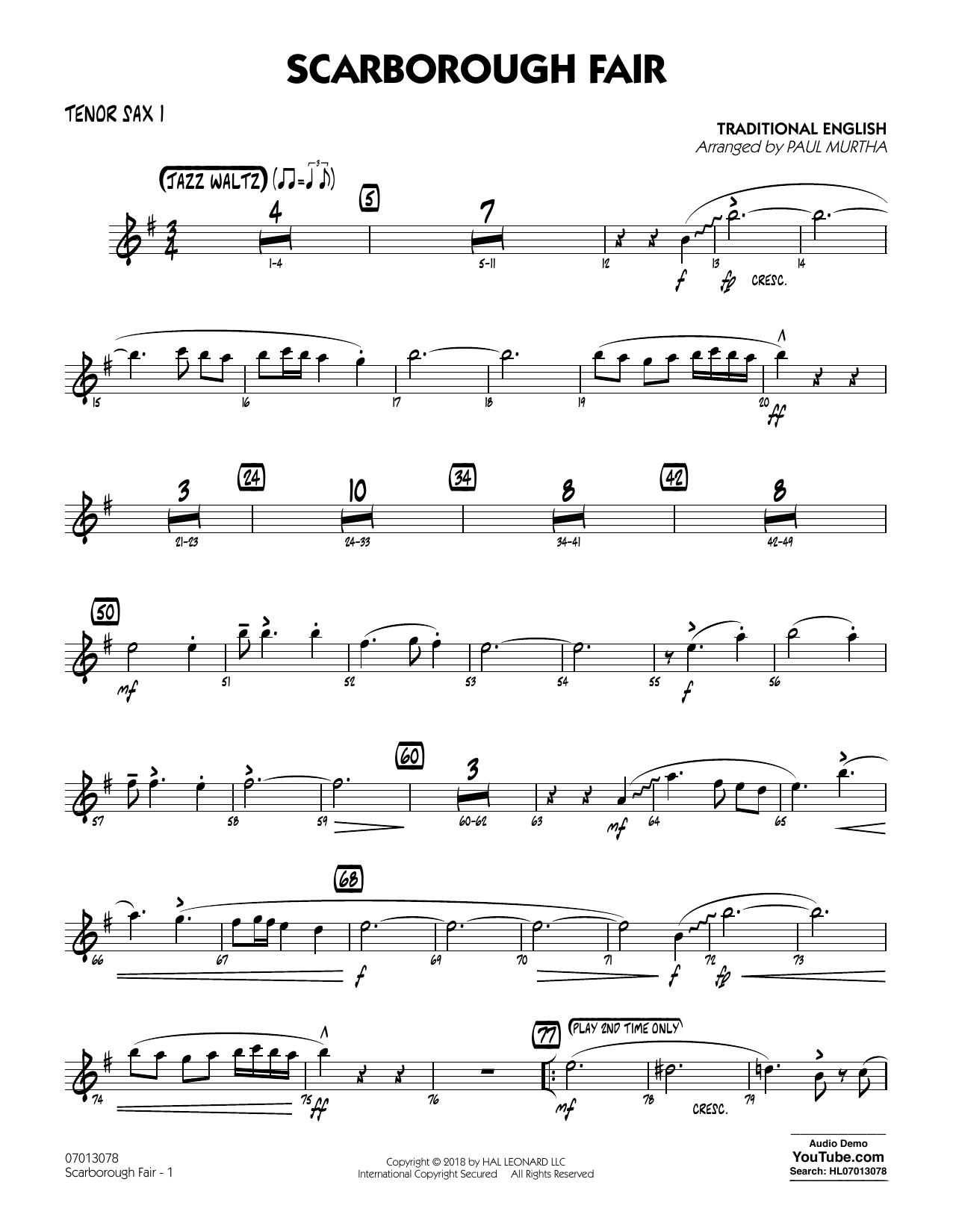Paul Murtha Scarborough Fair - Tenor Sax 1 sheet music notes and chords. Download Printable PDF.