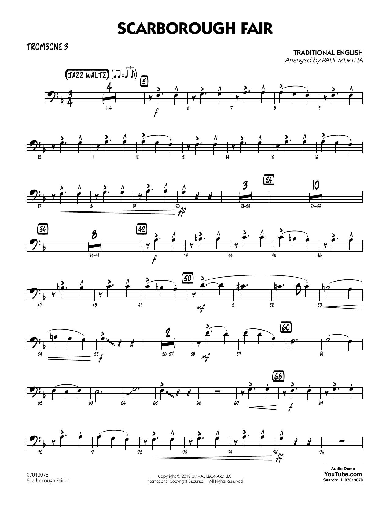 Paul Murtha Scarborough Fair - Trombone 3 sheet music notes and chords. Download Printable PDF.