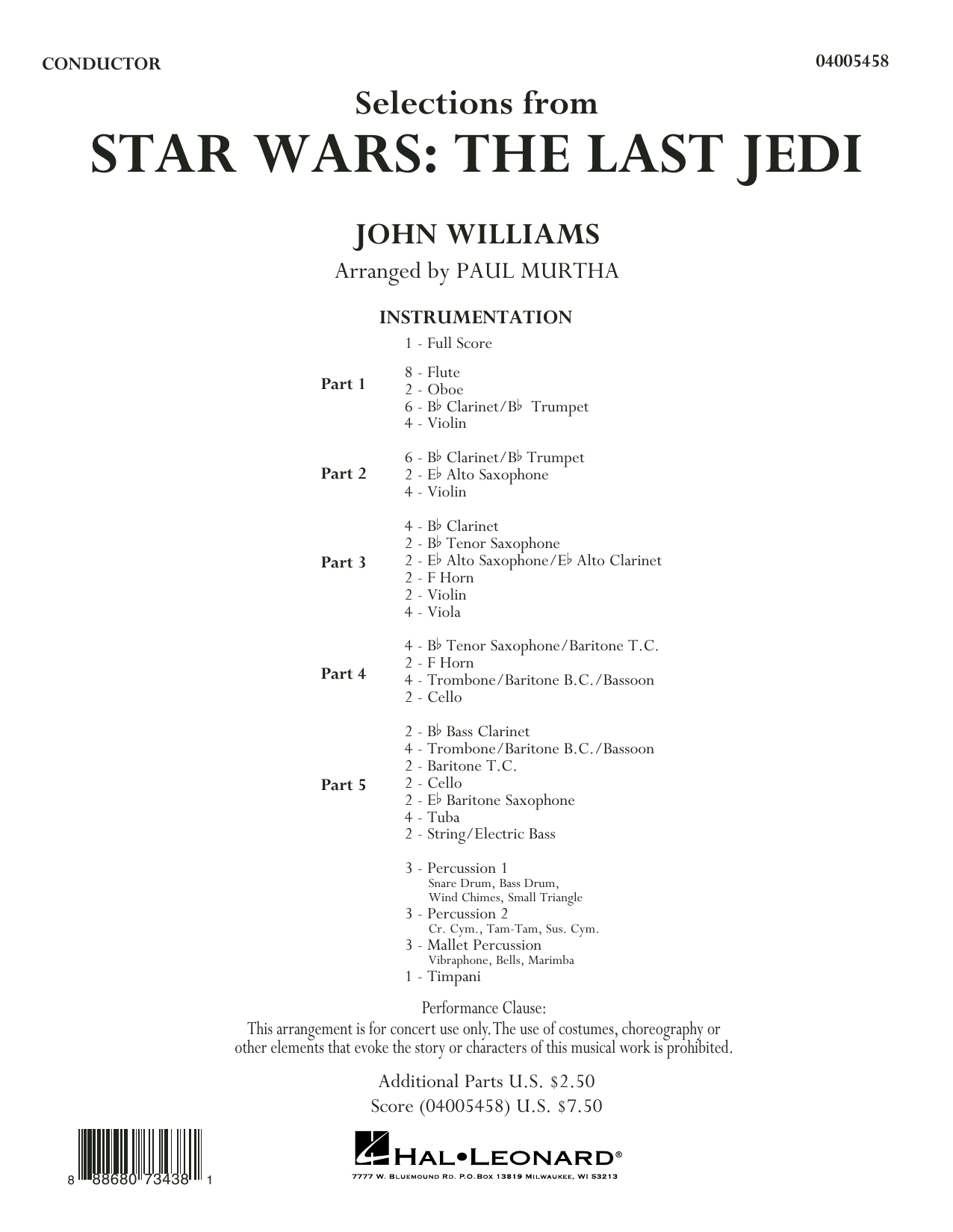 Paul Murtha Selections from Star Wars: The Last Jedi - Conductor Score (Full Score) sheet music notes and chords. Download Printable PDF.