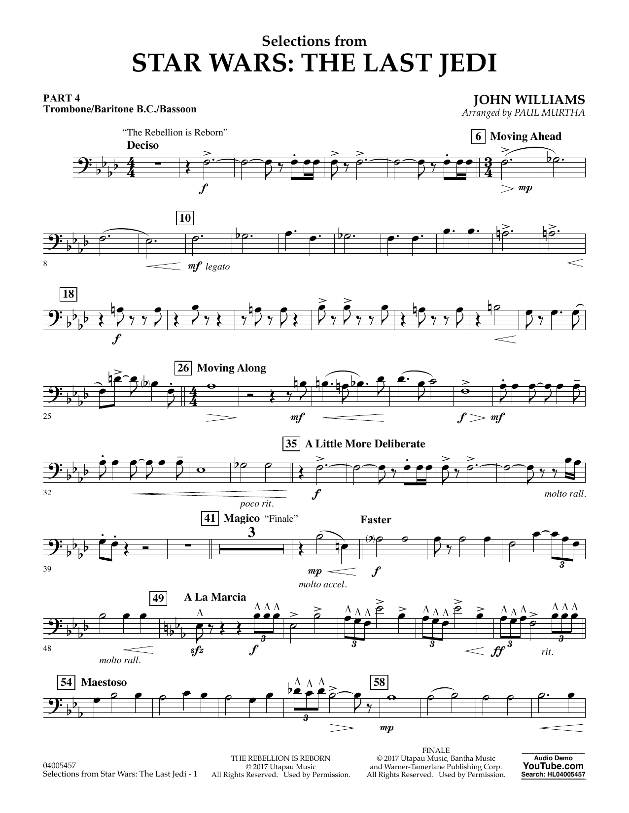 Paul Murtha Selections from Star Wars: The Last Jedi - Pt.4 - Trombone/Bar. B.C./Bsn. sheet music notes and chords. Download Printable PDF.