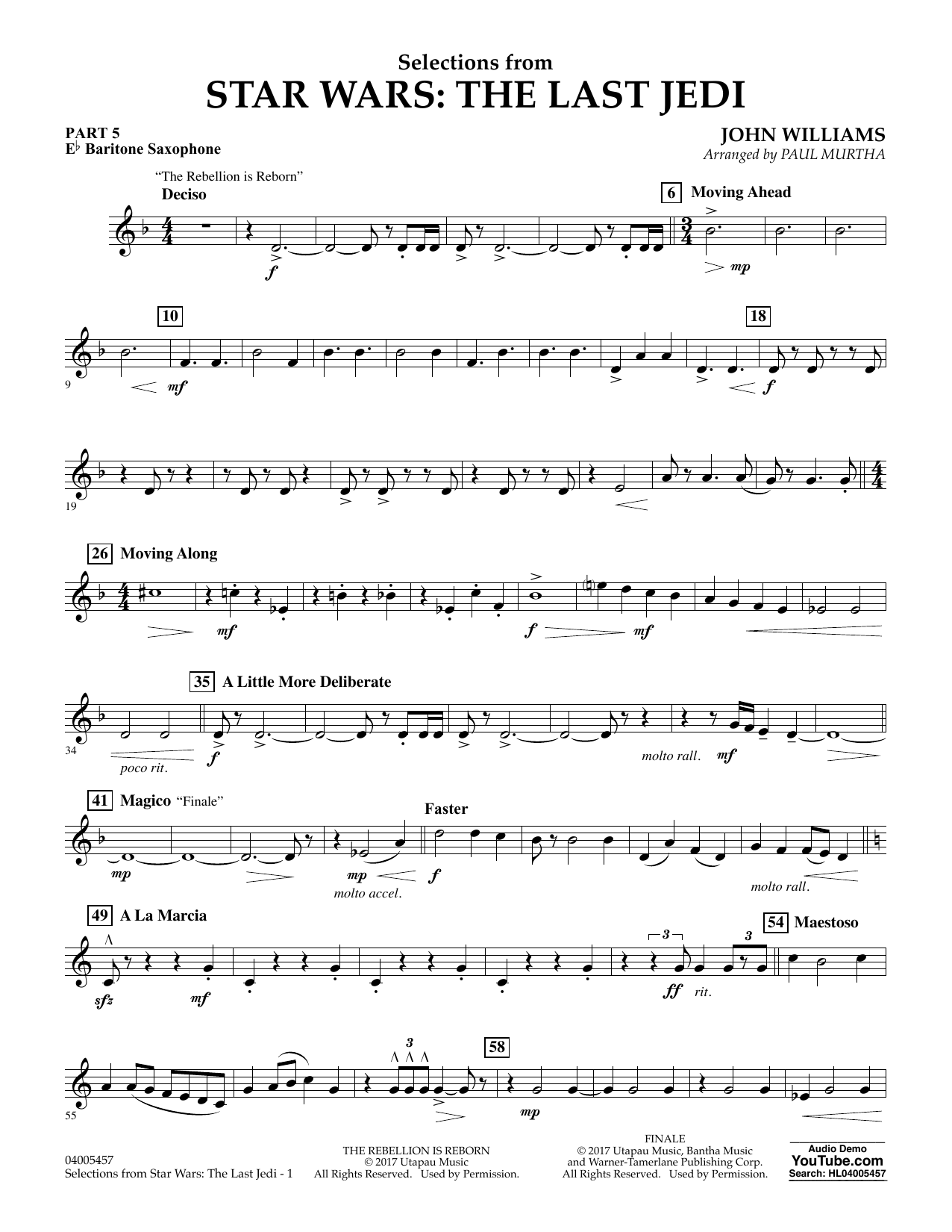 Paul Murtha Selections from Star Wars: The Last Jedi - Pt.5 - Eb Baritone Saxophone sheet music notes and chords. Download Printable PDF.