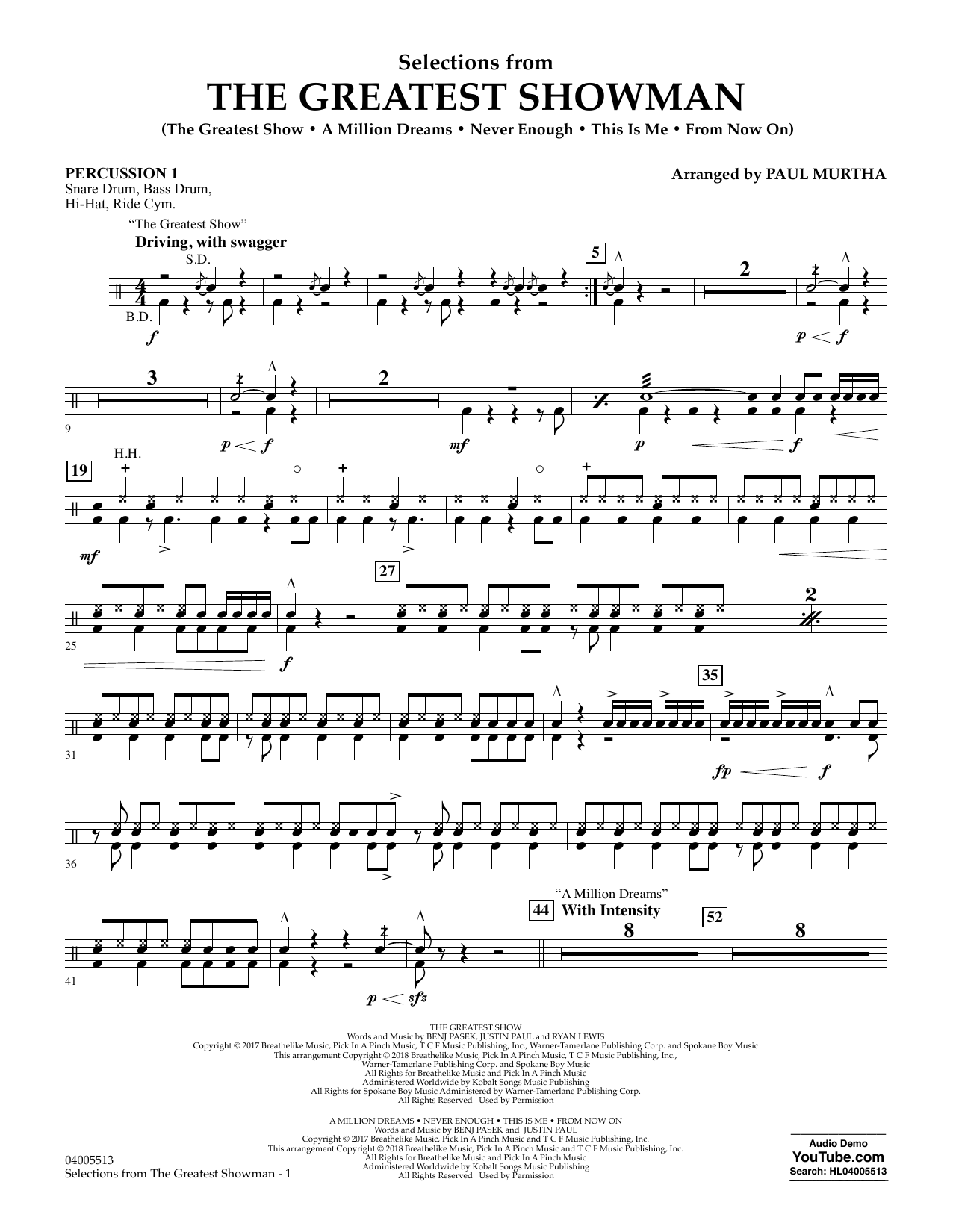 Paul Murtha Selections from The Greatest Showman - Percussion 1 sheet music notes and chords
