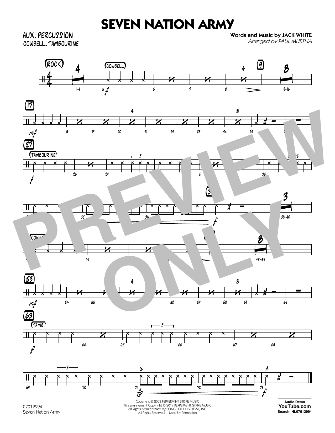 Paul Murtha Seven Nation Army - Aux Percussion sheet music notes and chords. Download Printable PDF.