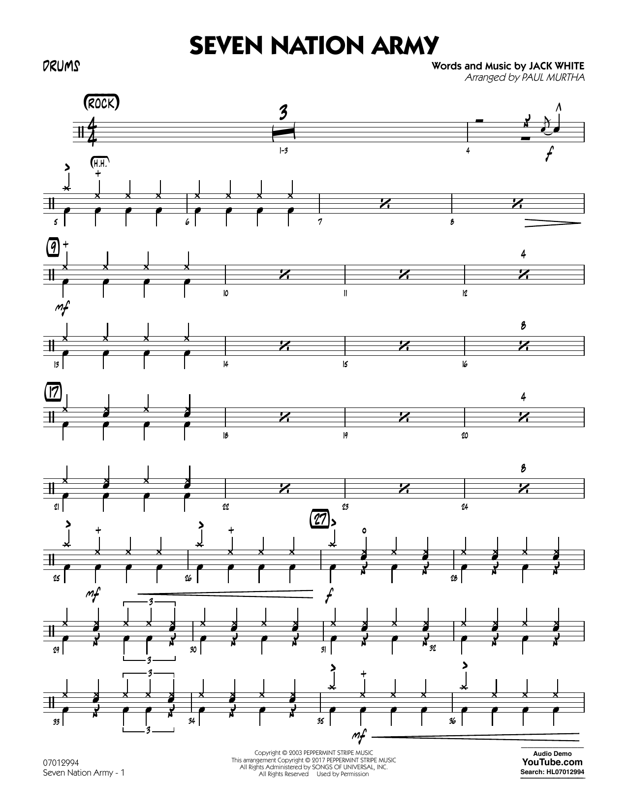 Paul Murtha Seven Nation Army - Drums sheet music notes and chords. Download Printable PDF.