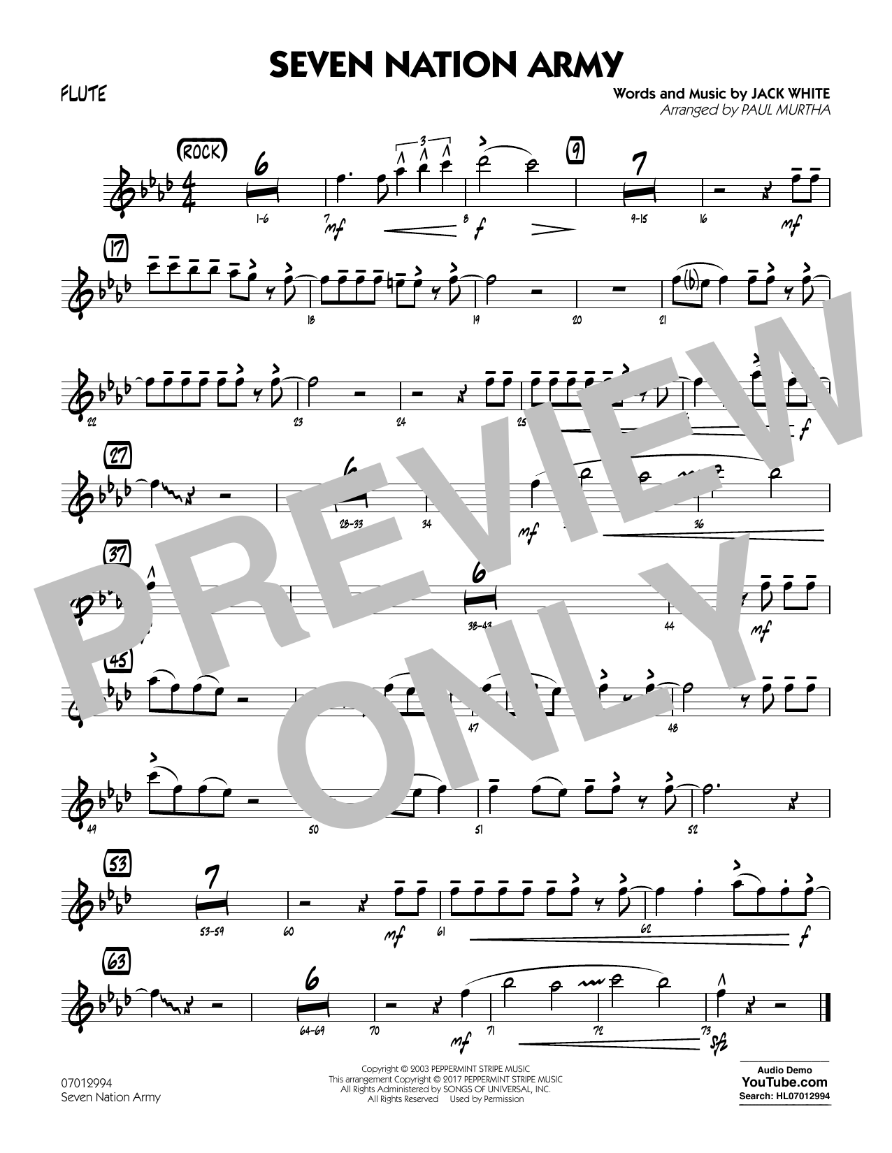 Paul Murtha Seven Nation Army - Flute sheet music notes and chords. Download Printable PDF.