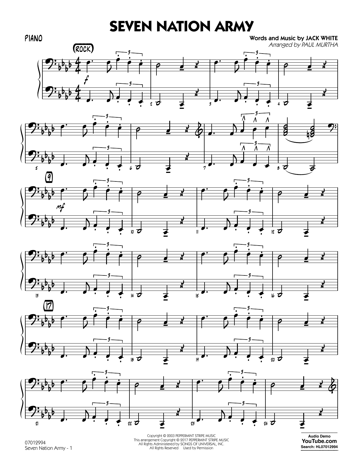 Paul Murtha Seven Nation Army - Piano sheet music notes and chords. Download Printable PDF.