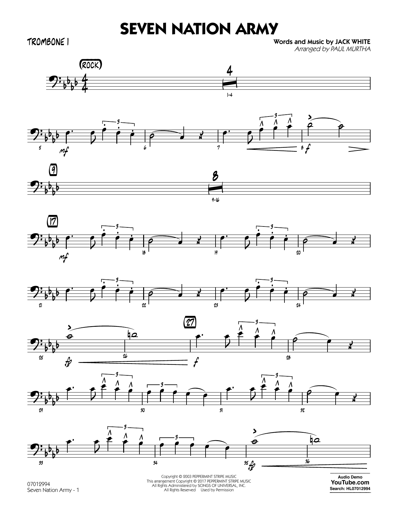 Paul Murtha Seven Nation Army - Trombone 1 sheet music notes and chords. Download Printable PDF.