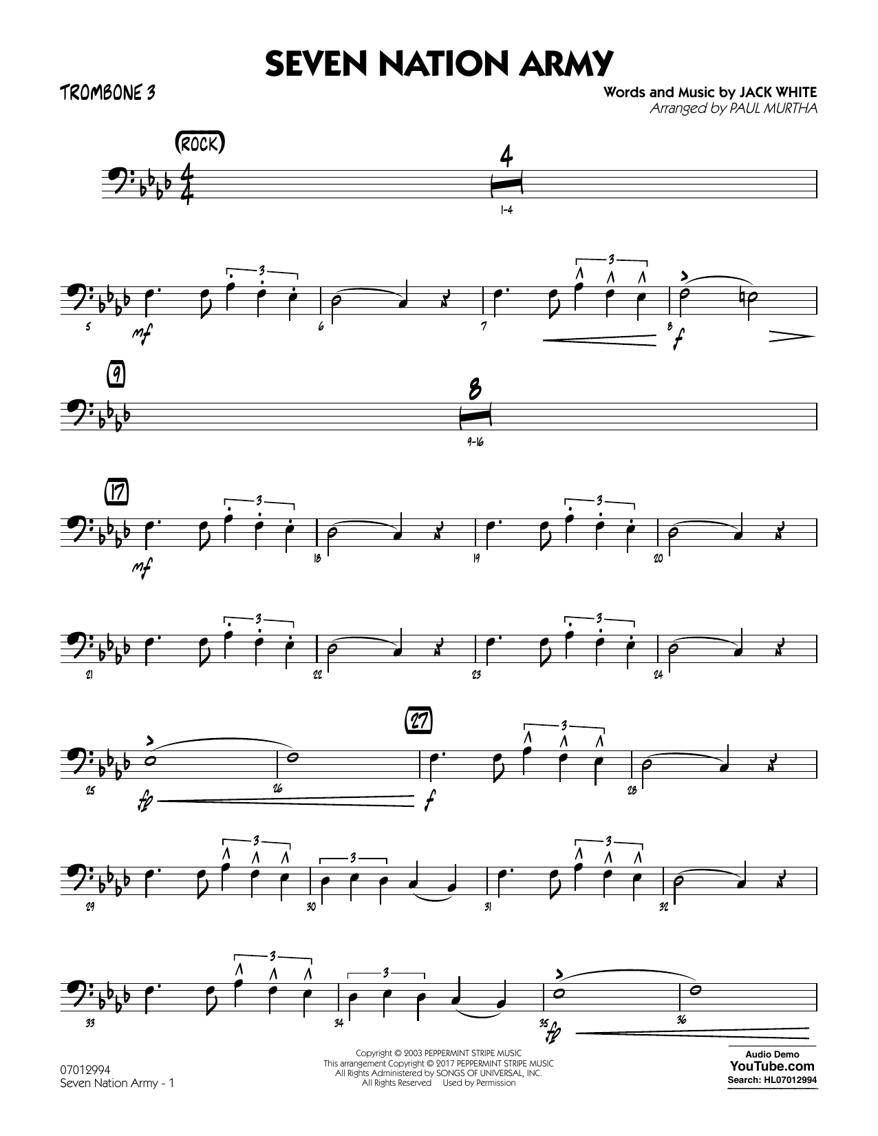 Paul Murtha Seven Nation Army - Trombone 3 sheet music notes and chords. Download Printable PDF.