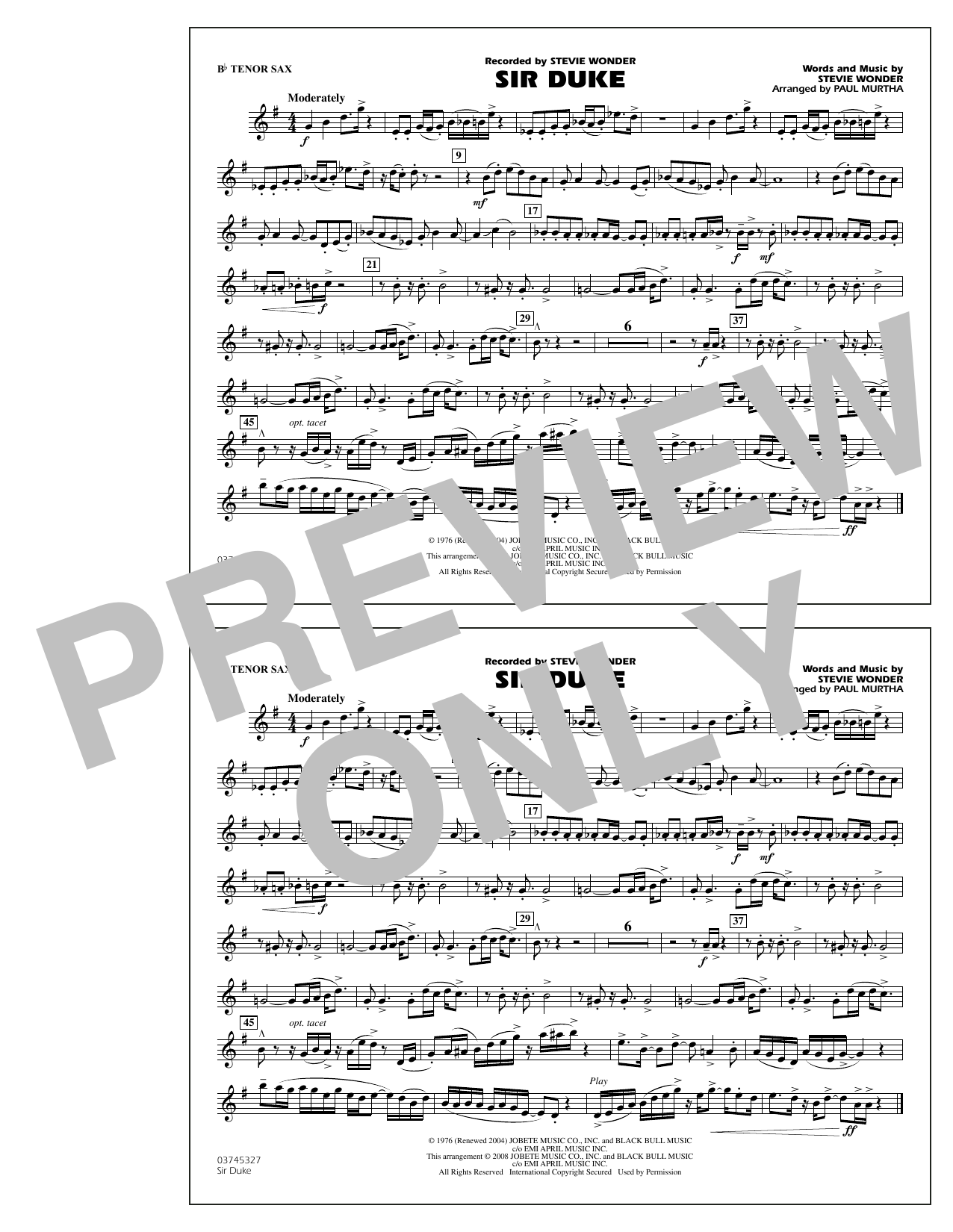 Paul Murtha Sir Duke - Bb Tenor Sax sheet music notes and chords