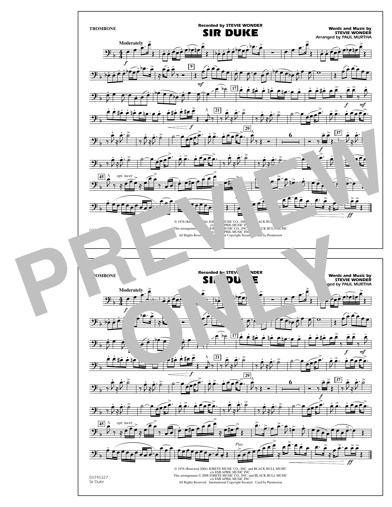 Paul Murtha Sir Duke - Trombone sheet music notes and chords