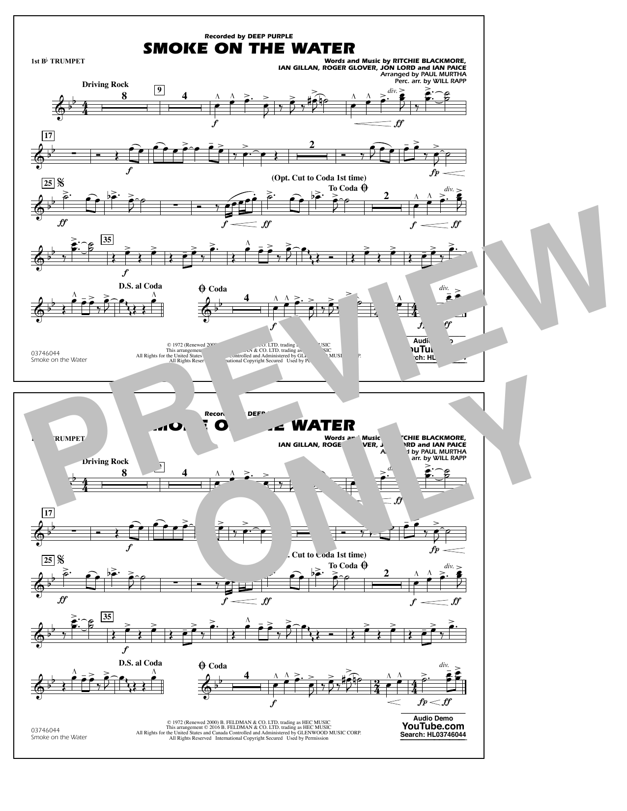 Paul Murtha Smoke on the Water - 1st Bb Trumpet sheet music notes and chords. Download Printable PDF.