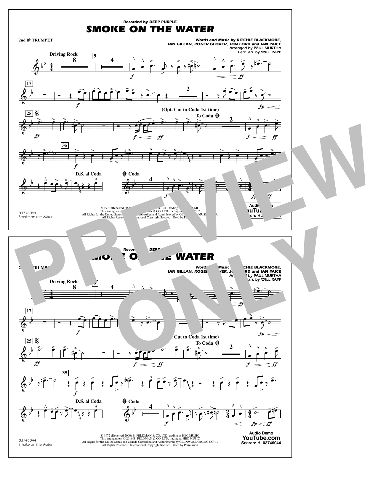 Paul Murtha Smoke on the Water - 2nd Bb Trumpet sheet music notes and chords. Download Printable PDF.