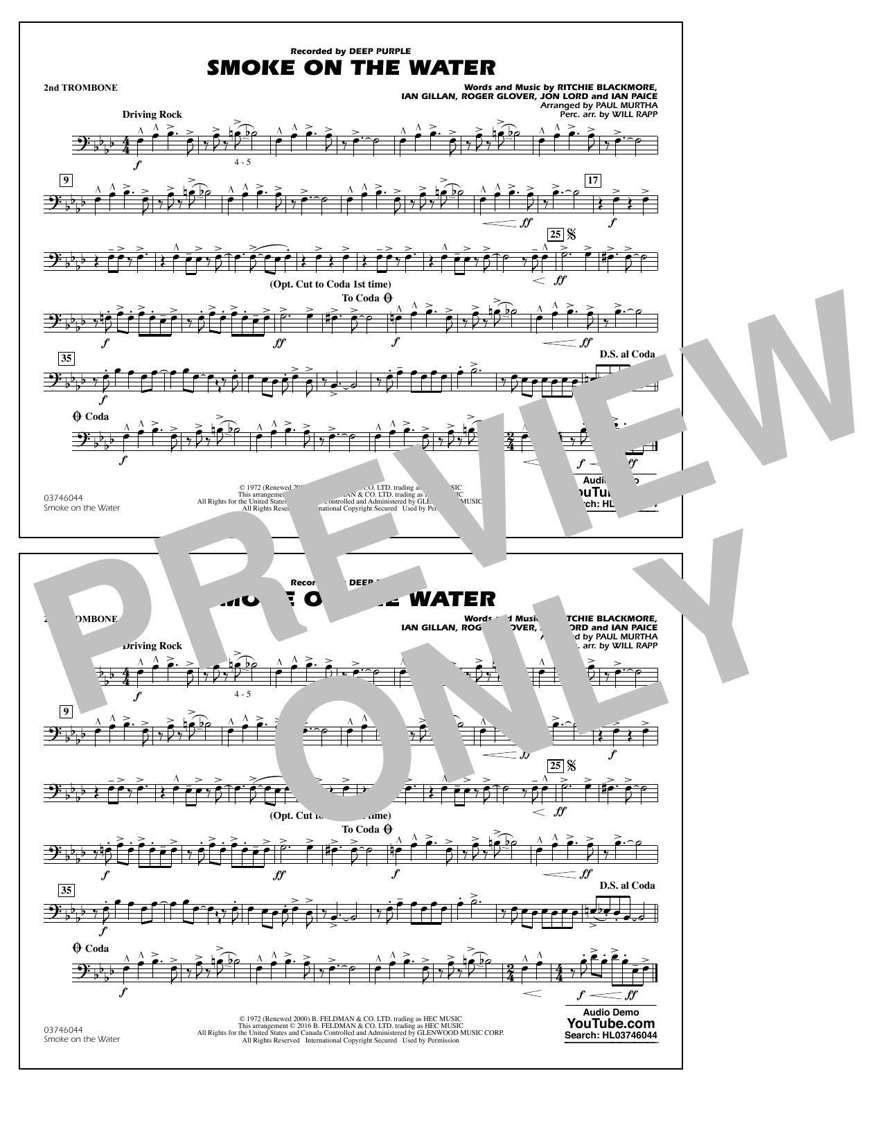 Paul Murtha Smoke on the Water - 2nd Trombone sheet music notes and chords. Download Printable PDF.