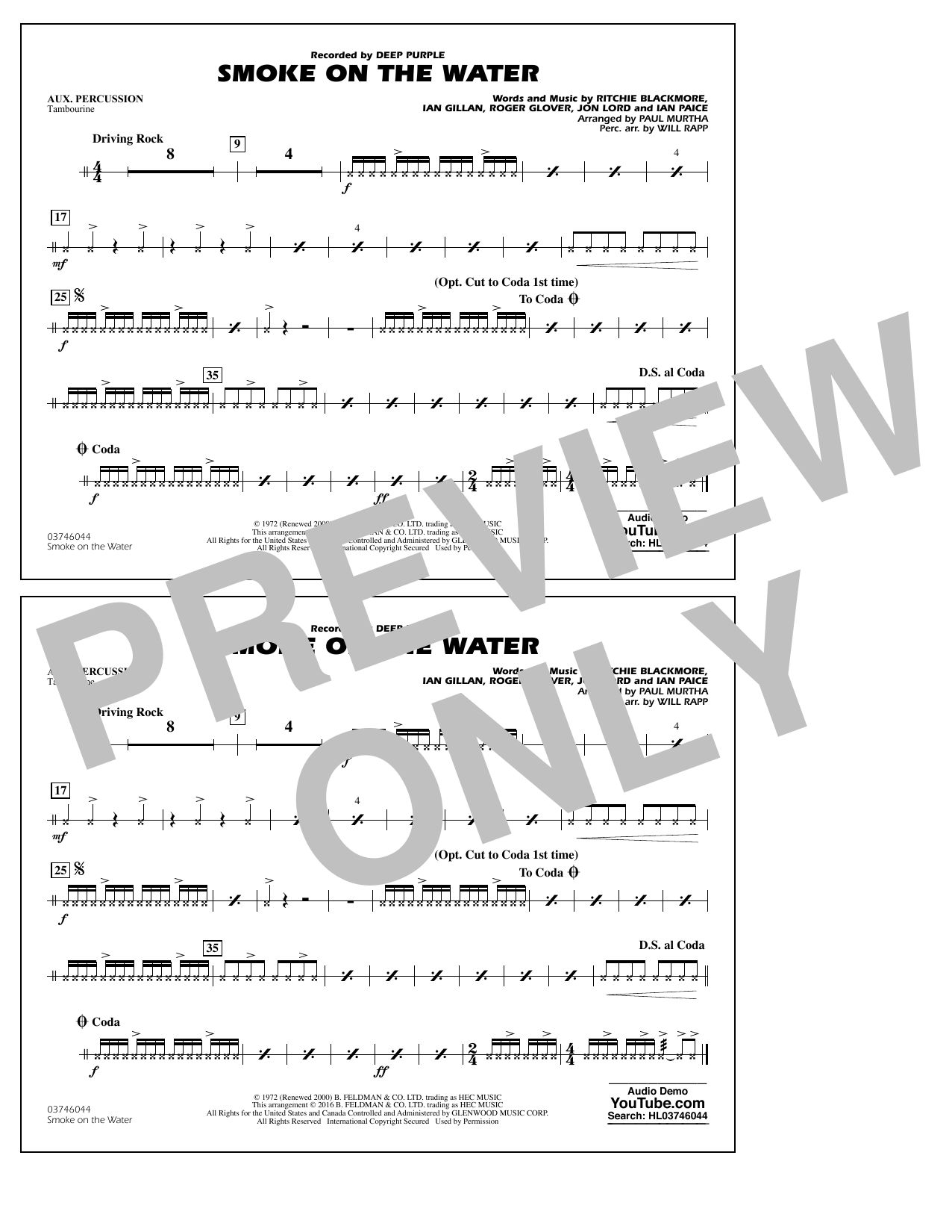Paul Murtha Smoke on the Water - Aux Percussion sheet music notes and chords. Download Printable PDF.