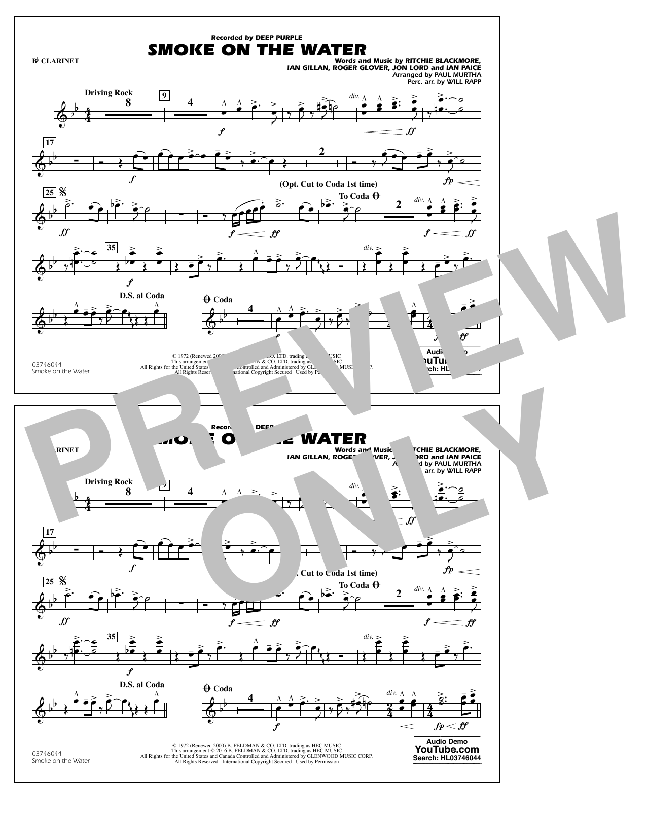 Paul Murtha Smoke on the Water - Bb Clarinet sheet music notes and chords. Download Printable PDF.