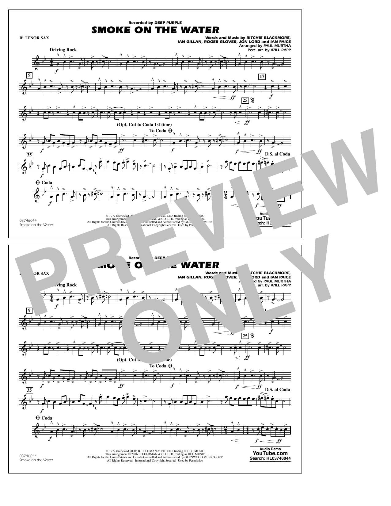 Paul Murtha Smoke on the Water - Bb Tenor Sax sheet music notes and chords. Download Printable PDF.