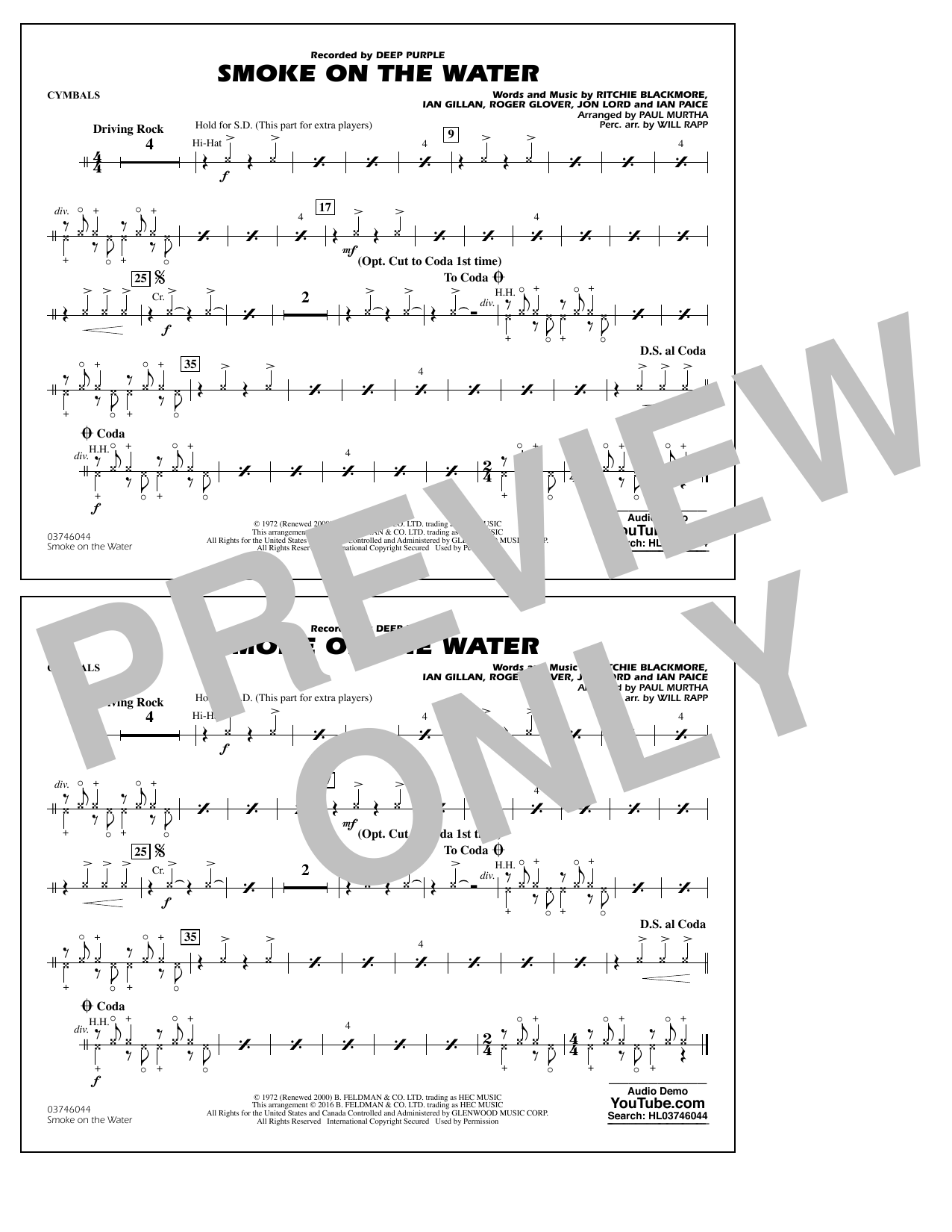 Paul Murtha Smoke on the Water - Cymbals sheet music notes and chords. Download Printable PDF.