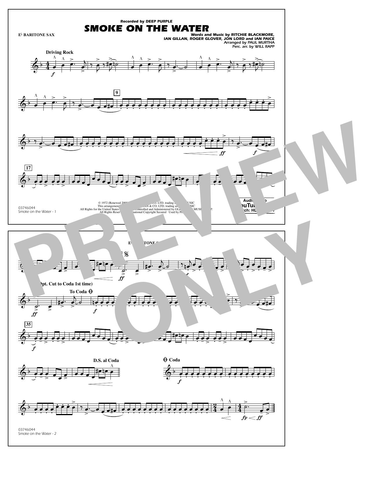 Paul Murtha Smoke on the Water - Eb Baritone Sax sheet music notes and chords. Download Printable PDF.