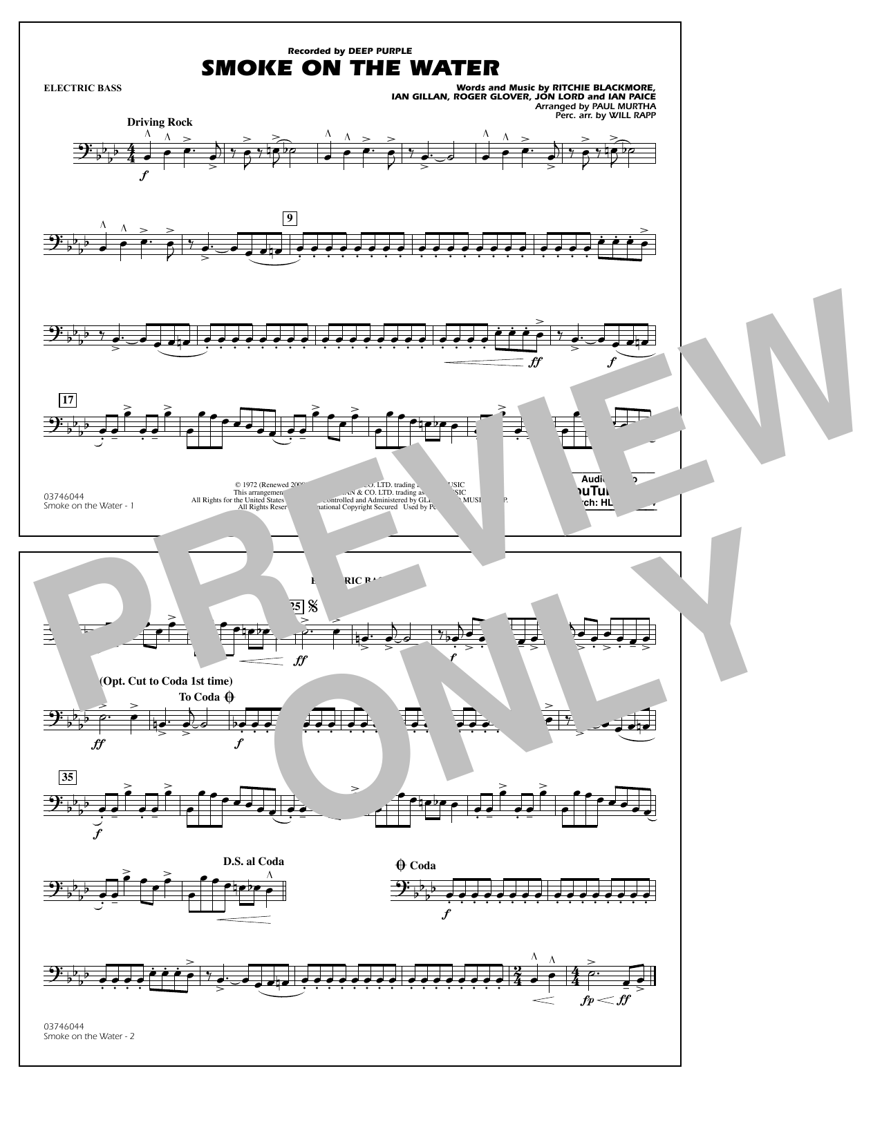 Paul Murtha Smoke on the Water - Electric Bass sheet music notes and chords. Download Printable PDF.