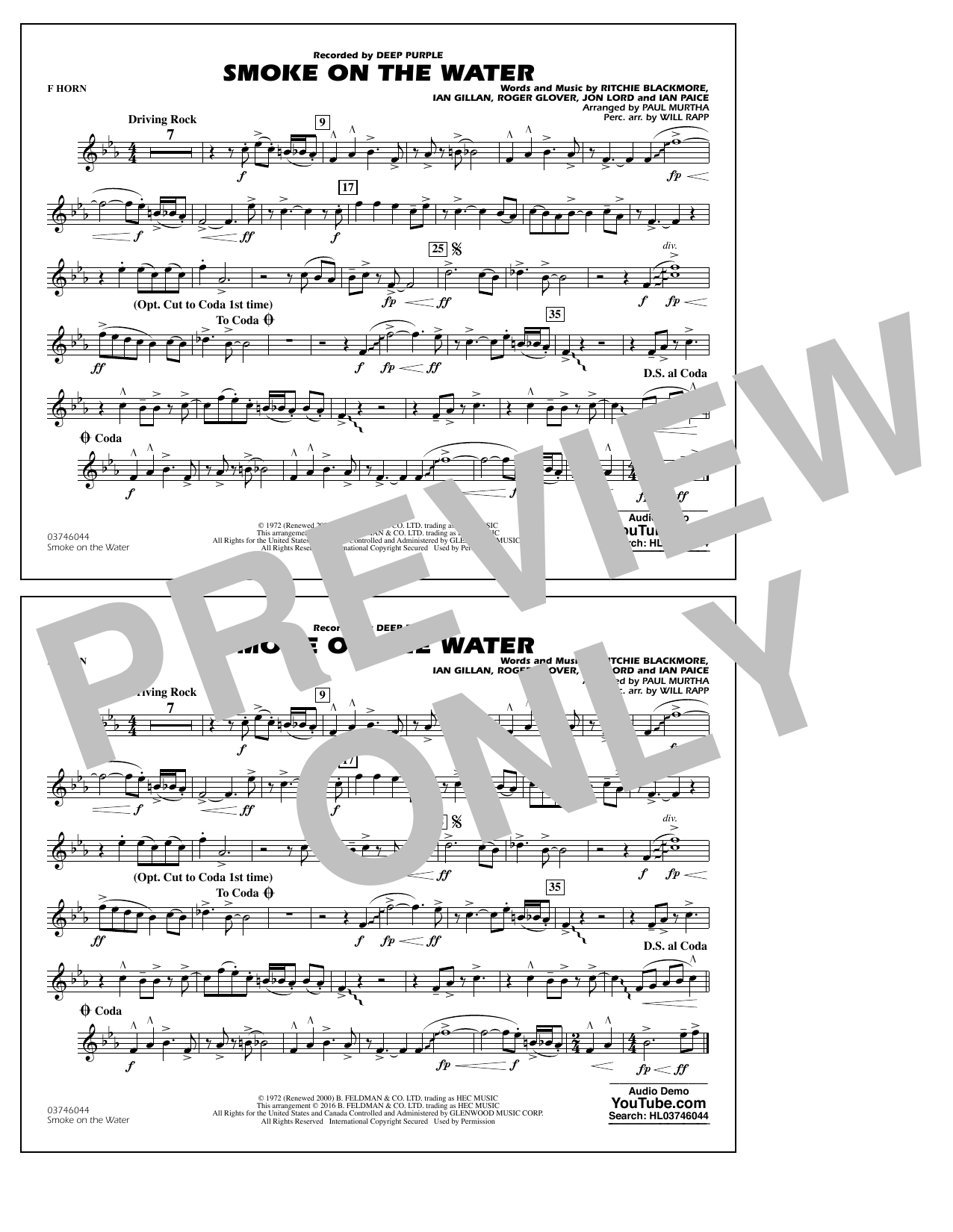 Paul Murtha Smoke on the Water - F Horn sheet music notes and chords. Download Printable PDF.