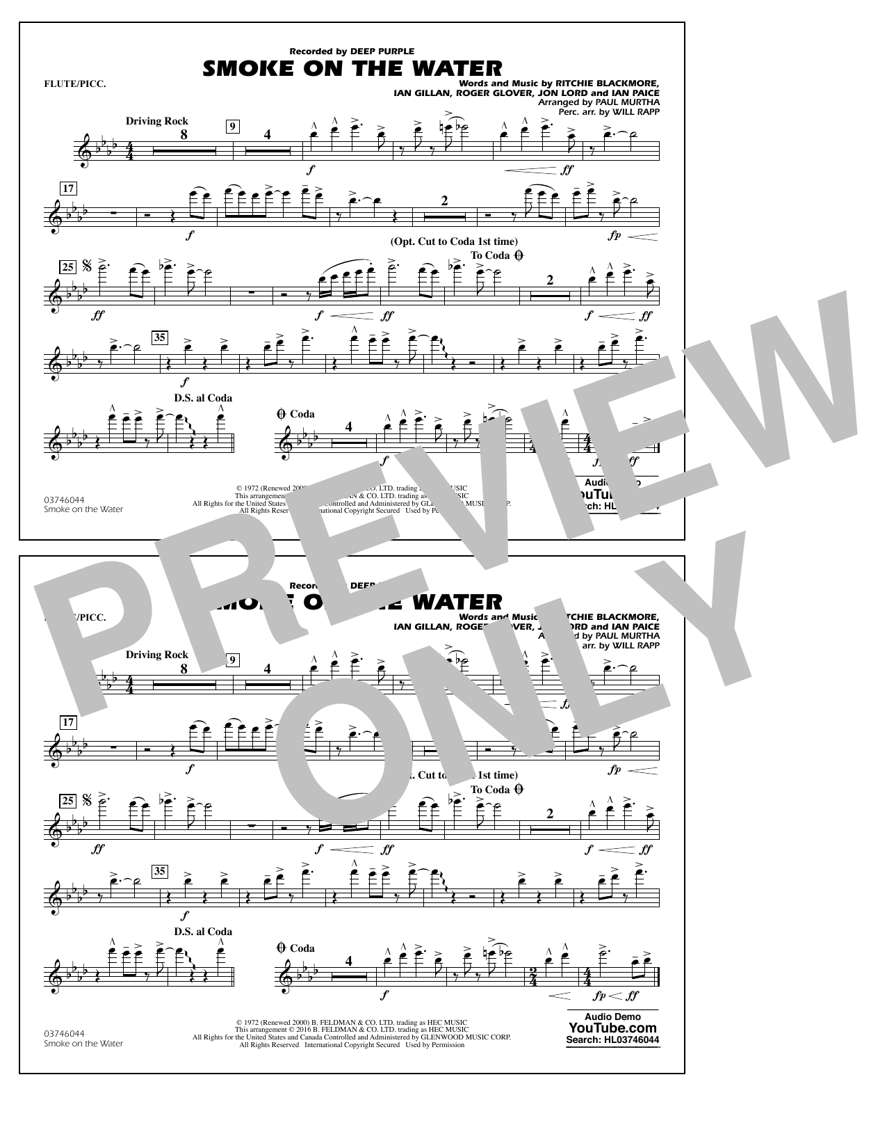 Paul Murtha Smoke on the Water - Flute/Piccolo sheet music notes and chords. Download Printable PDF.