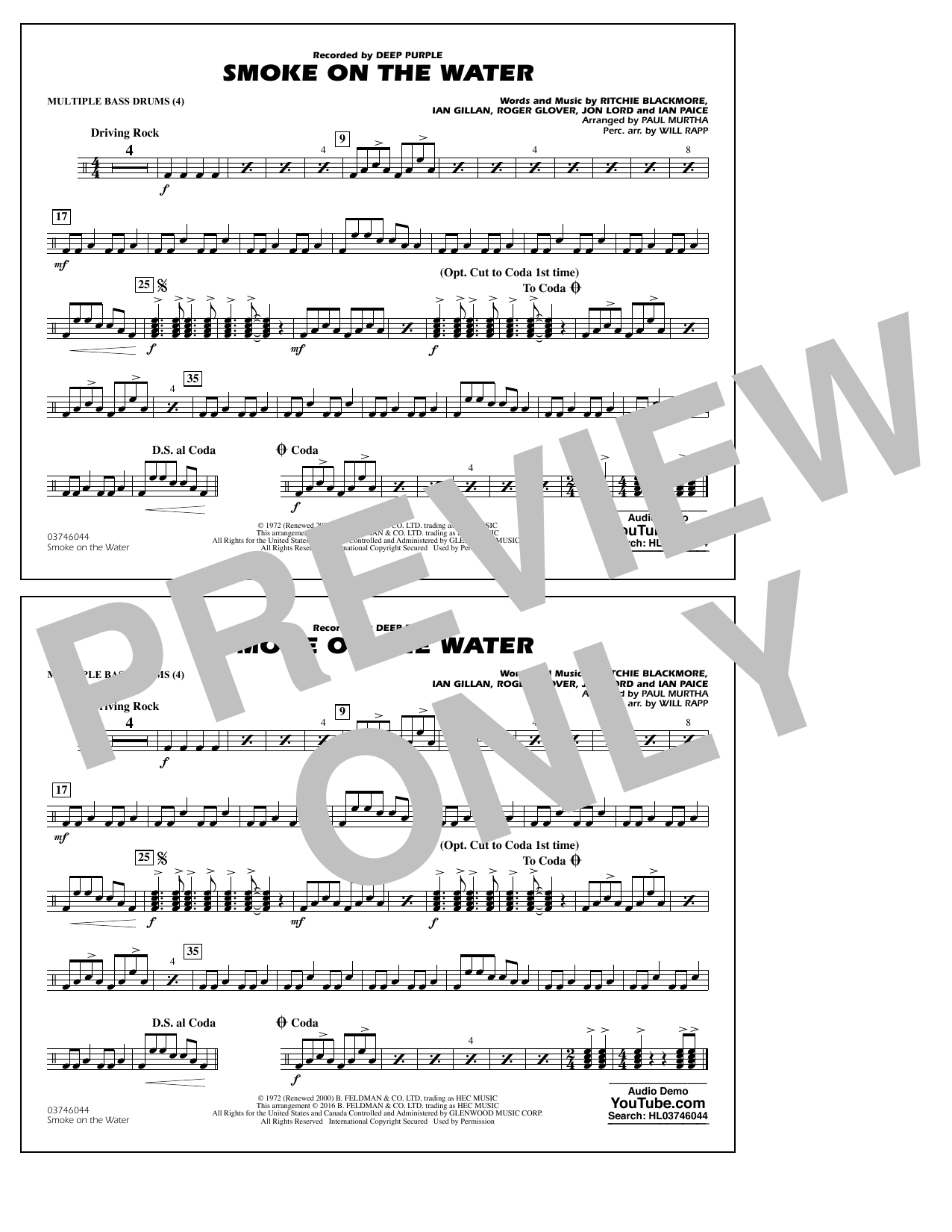 Paul Murtha Smoke on the Water - Multiple Bass Drums sheet music notes and chords. Download Printable PDF.